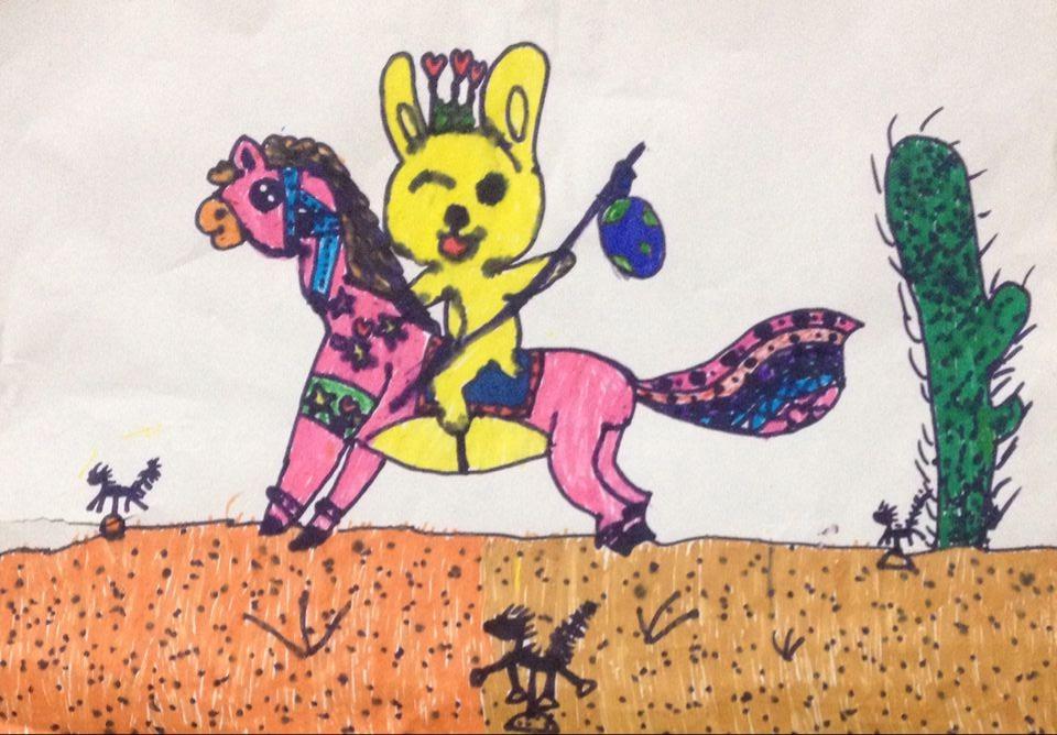 兔子-蜡笔画图集13