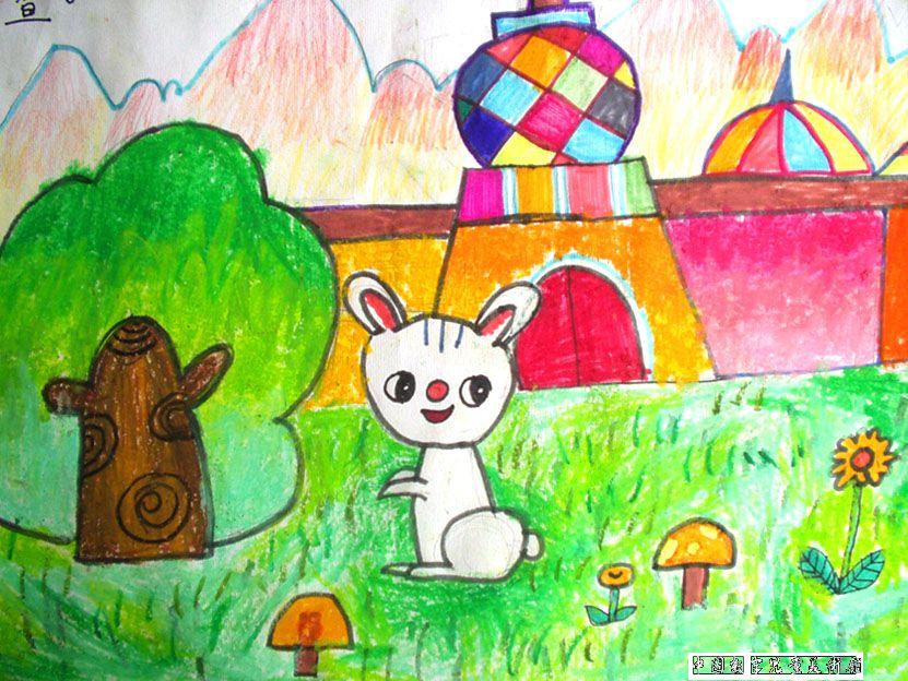 兔子-蜡笔画图集15