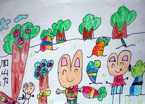 兔子-蜡笔画图集20