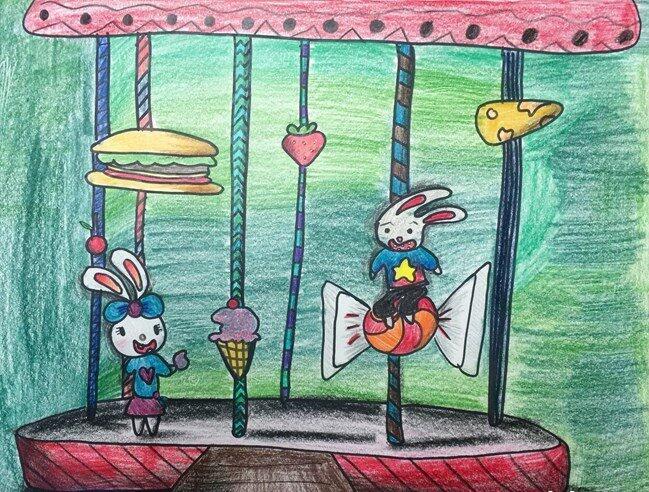 兔子-蜡笔画图集21