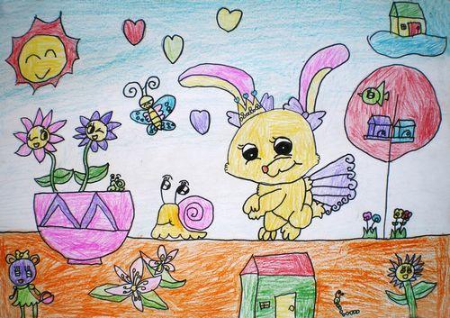 兔子-蜡笔画图集22
