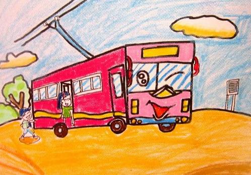 公交车-蜡笔画图集