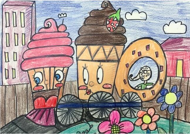 冰激凌-蜡笔画图集