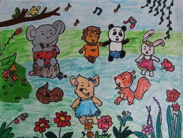 动物-蜡笔画图集23