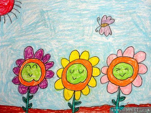 向日葵-蜡笔画图集