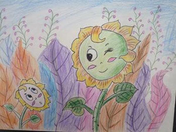向日葵-蜡笔画图集2