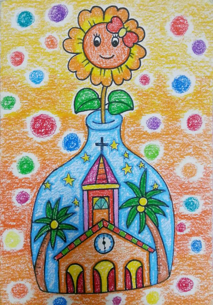 向日葵-蜡笔画图集3