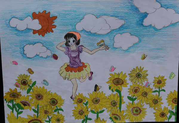 向日葵-蜡笔画图集4