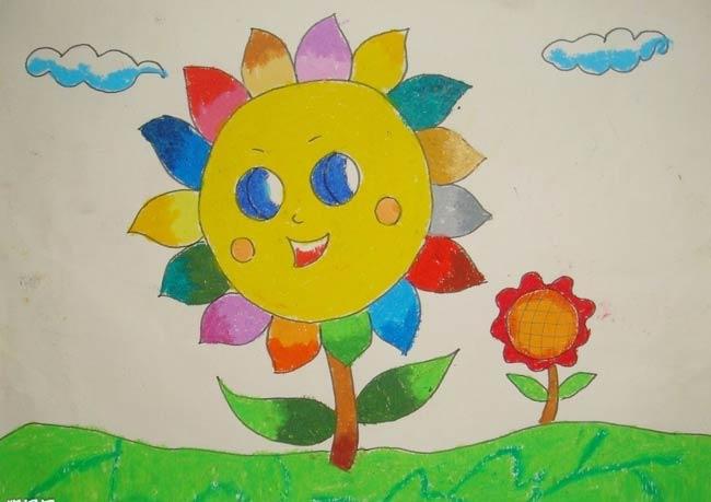 向日葵-蜡笔画图集5