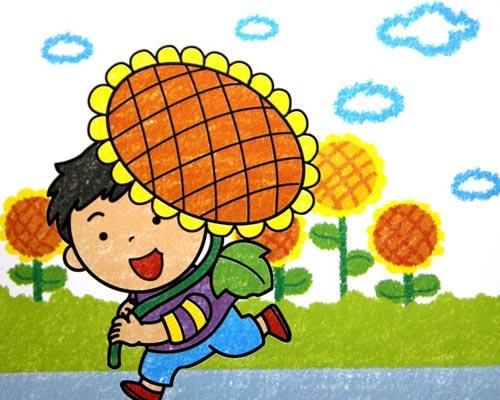 向日葵-蜡笔画图集图片_儿童蜡笔画_少儿图库_中国
