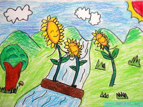 向日葵-蜡笔画图集9
