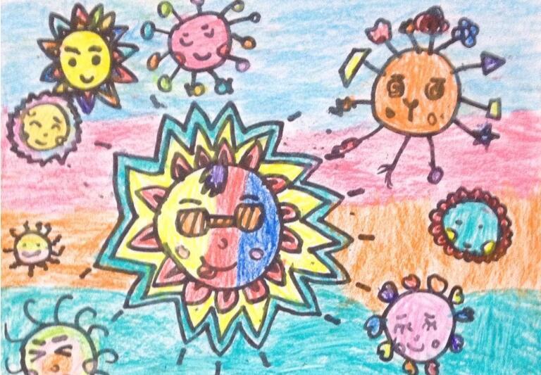 向日葵-蜡笔画图集10