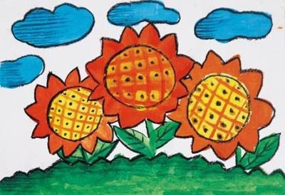 向日葵-蜡笔画图集11