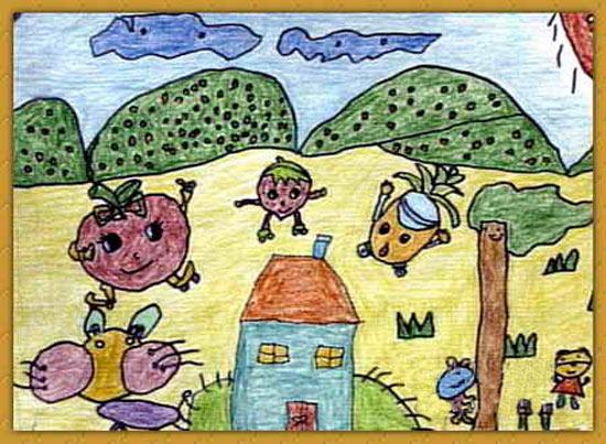 和谐社会-蜡笔画图集