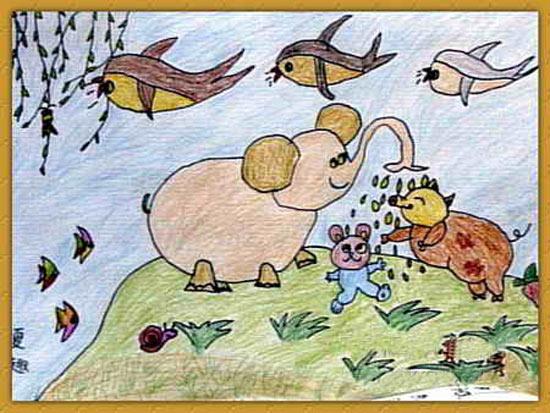 和谐社会-蜡笔画图集2