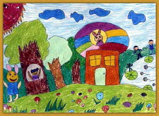 和谐社会-蜡笔画图集4