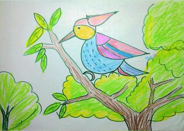 啄木鸟-蜡笔画图集