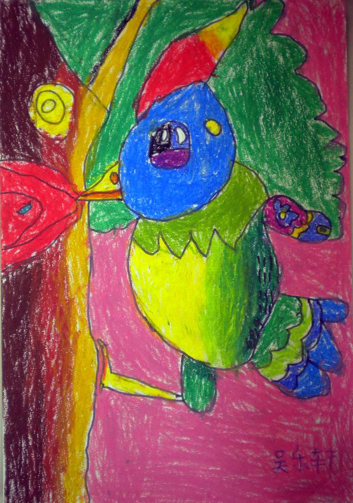 啄木鸟-蜡笔画图集3