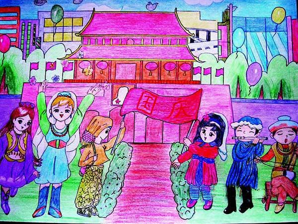国庆节-蜡笔画图集4