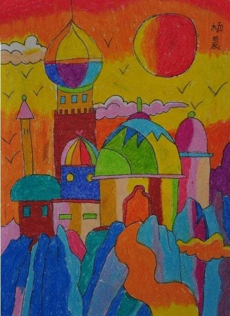 城堡-蜡笔画图集19