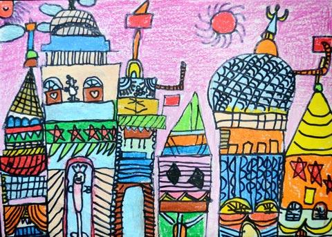 城市-蜡笔画图集