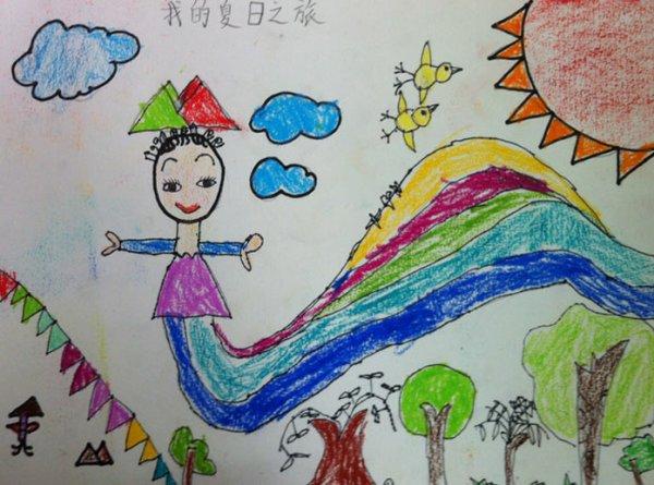 夏天-蜡笔画图集8