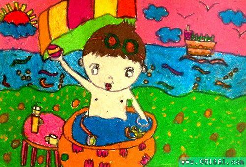 夏天-蜡笔画图集10