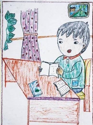 夏天-蜡笔画图集15