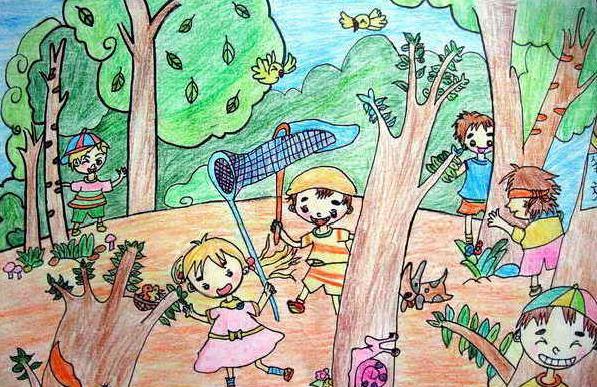 夏天-蜡笔画图集22