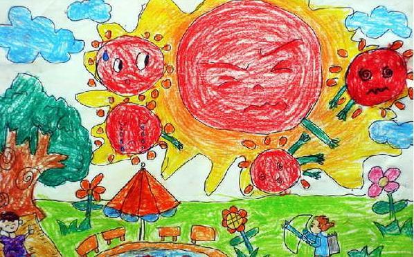 夏天-蜡笔画图集26