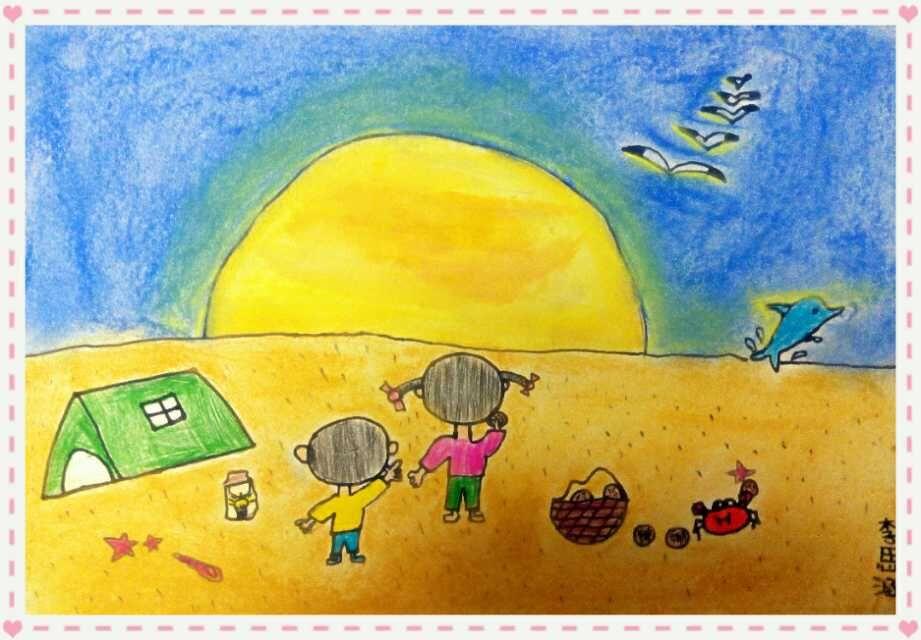 夕阳-蜡笔画图集