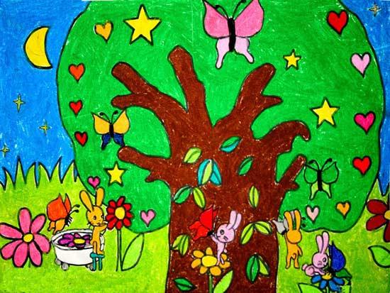 大树-蜡笔画图集