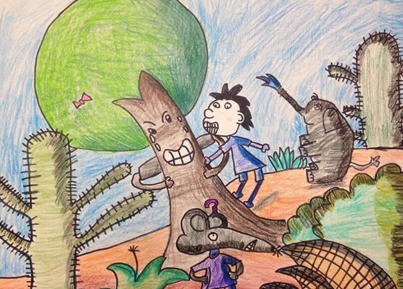 大树-蜡笔画图集2