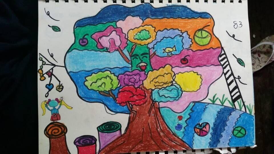 大树-蜡笔画图集5
