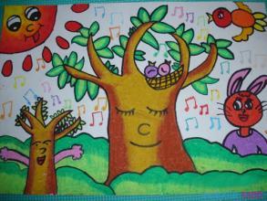 大树-蜡笔画图集6