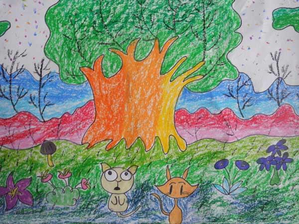 大树-蜡笔画图集7