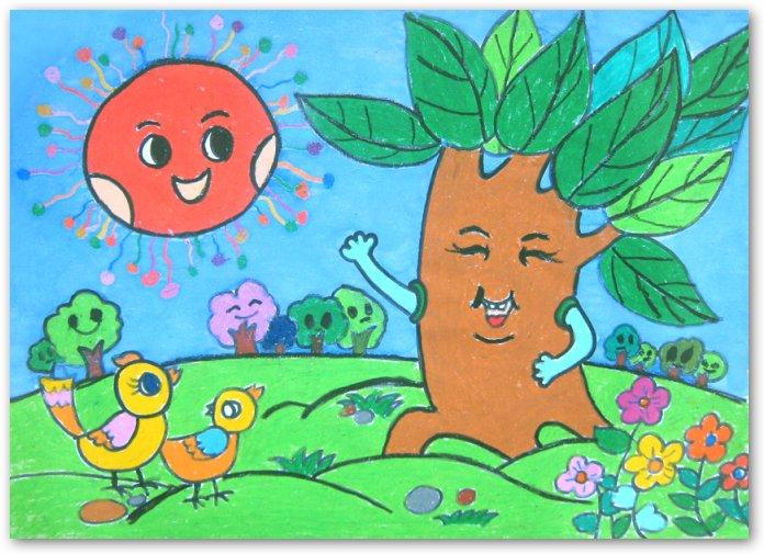大树-蜡笔画图集8