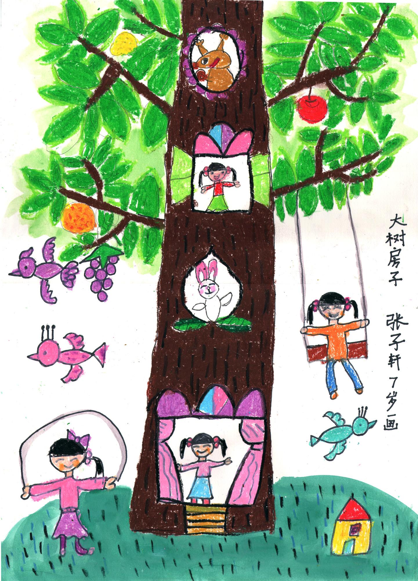 大树-蜡笔画图集9