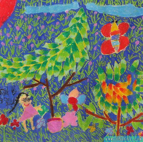 大树-蜡笔画图集12