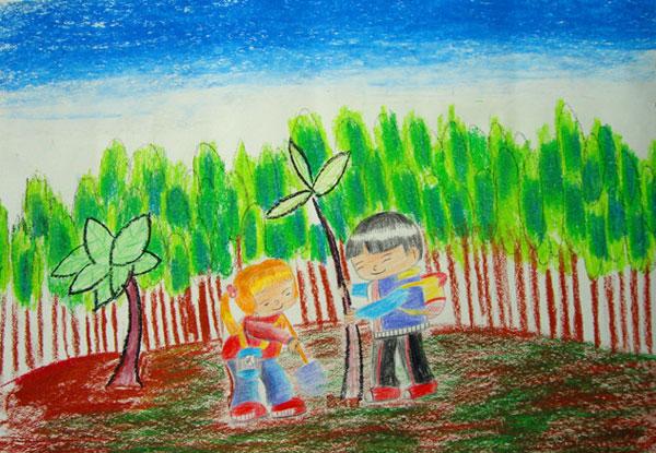大树-蜡笔画图集13