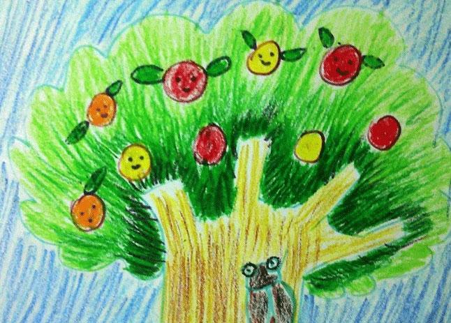大树-蜡笔画图集17
