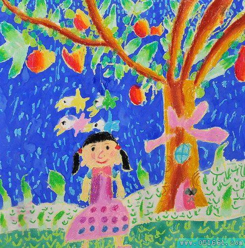 大树-蜡笔画图集20