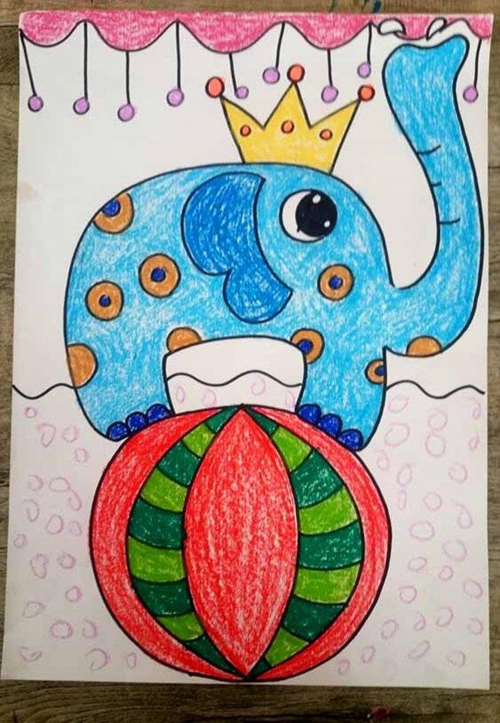 大象-蜡笔画图集2