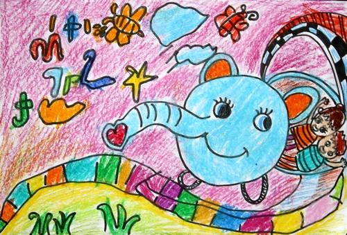 大象-蜡笔画图集3