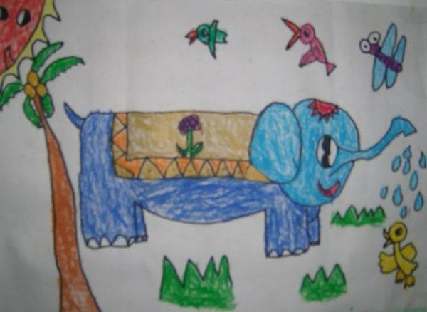 大象-蜡笔画图集7