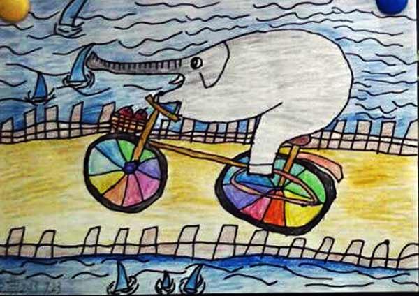 大象-蜡笔画图集8