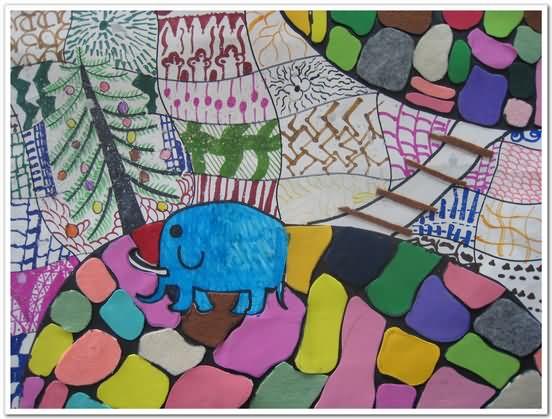 大象-蜡笔画图集9