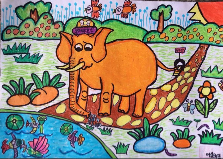 大象-蜡笔画图集11