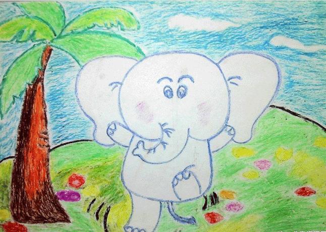 大象-蜡笔画图集13