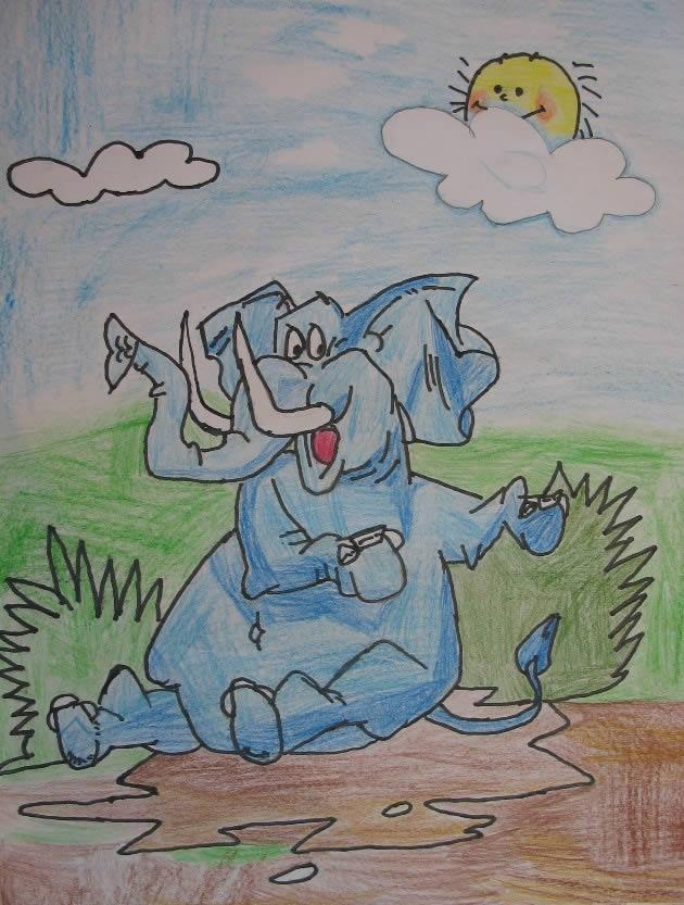 大象-蜡笔画图集14